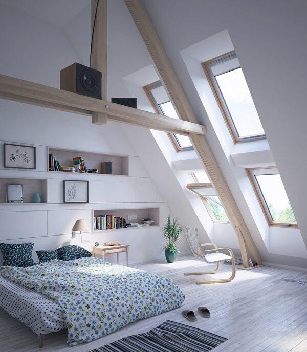 Attic bedroom with beams