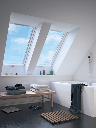 Bathroom with large rooflights