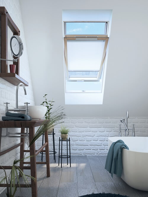 A bathroom in a converted loft