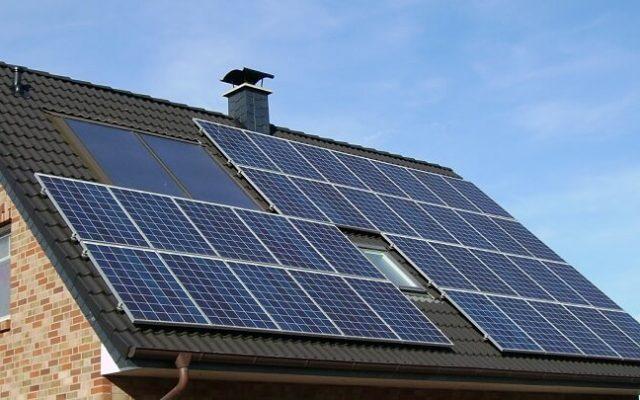 Solar panels on eco home